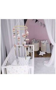 Baby Cot Mobile, Wind Chimes Felt Ball Pom Poms, Hanging on Crib Ceiling