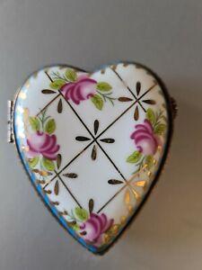 Limoges  Porcelain Trinket Box Heart Shaped Cabbage Rose Gold Je T'Aime
