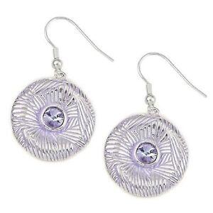 Women Fashion Earrings Gold & Silver Lilac Round Dangle Drop Ladies Jewellery uk
