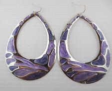 Vintage Style 70's Dangling Silvertone Purple Enamel Teardrop Hoop Earrings