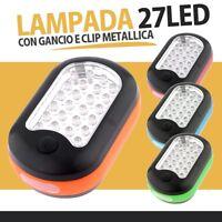 LUCE LAMPADA 27 LED LAVORO TORCIA CON CLIP E CALAMITA MAGNETE MECCANICO AUTO