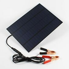 5W 12V Solar Panel Battery Charger w/ Alligator Clips For Car Truck Boat Yacht