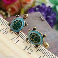 Tortoise Animal Vintage Style Enamel Turtle Charm Stud Earrings Gold Pair Small