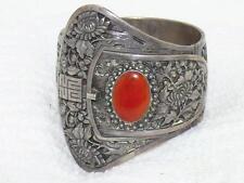 Antique Sterling Silver Carnelian Belt Buckle Cuff Bracelet Art Noveau 87 Grams