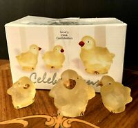 Set Of 3 Chick Crystal Candleholders, Yellow Frosted Glass