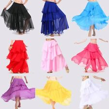 3 Layers Ruffled Skirts Belly Dancer Dancing Costume Spiral Long Skirts 9 Colors