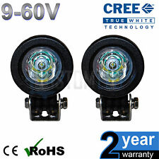 2 x 12v 10w Cree Round LED Flood Working Work Light Tractor Boat HGV Reverse