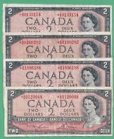 4 x 1954 $2 Bank of Canada Replacement Notes - Fine