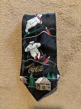 Coca-Cola Coke Polar Bear Skiing Christmas Winter 100% polyester Necktie Tie