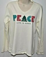 Life is Good. woman's crusher tee long sleeve V TREE PEACE New w/tags