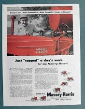 Original 1954 Massey Harris Tractor Family Ad JUST CAPPED A DAY'S WORK