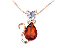 Rhinestone Accented Golden Enamel Cat Necklace Amber Body Crystal Pendant Gifts