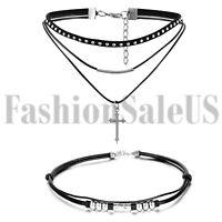 Women Men Gothic Jewelry Pendant Choker Chunky Statement Chain Bib Necklace 2pcs