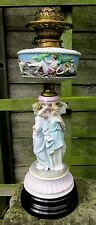 FABULOUS LARGE DRESDEN PORCELAIN  HINKS OIL LAMP
