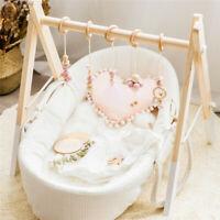 5Pcs Set Baby Sensory Play Gym Toy Wool Felt Ball Lace Wooden Ring Nursery Decor