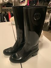 GUCCI Black Rubber GG Logo Rain Boots (Size 39)