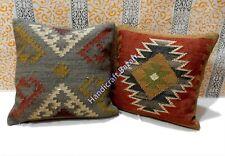 2 Pc Cushion Wool Jute Throw Sofa Pillow Handwoven Reversible Multi-color Killim