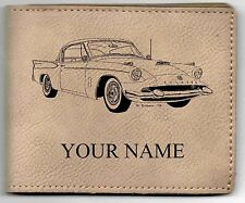 Packard Hawk Leather Billfold With Drawing & Your Name On It-Nice Quality