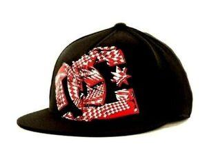 DC Shoes Gil 210  Black Flex Fit Flat Bill Baseball Style Red Logo Cap Hat