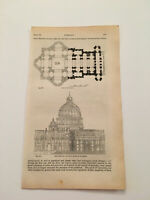 K66) Plan of St. Peter's Basilica Rome Italy Architecture History 1842 Engraving