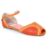 Bettie Page BP100-FRUITIE Orange Flat Fruit Sandals
