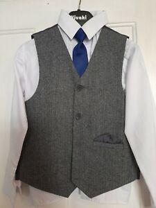 Boys formal / wedding tweed waistcoat shirt and tie age 7 years