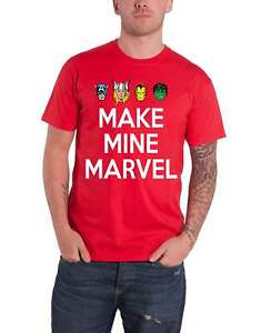 Marvel T Shirt Make Mine Character Heads new Official Mens Red