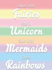UNICORNS MERMAIDS FAIRIES RAINBOWS CUTE Metal Sign Wall Plaque GIRLS BEDROOM