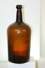 Early Pontiled Demijohn Amber 18 1/2'' tall around 3 Gallons whittled