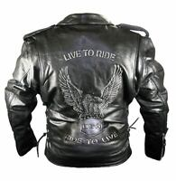 Men's Premium Classic Black Embossed Eagle Motorcycle Leather Armoured Jackets