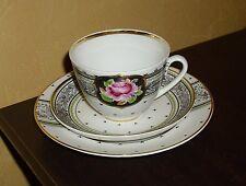 Lomonosov 1 Kaffeegedeck 3 teilig Blumen und Golddekor