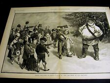 Christmas SANTA CLAUS WELCOMED by CHILDREN of ALL NATIONS 1886 Large Folio Print