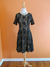 New Bobeau Size S Black Lace Overlay Fit & Flare Party Cocktail Dress