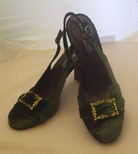 "New Via Spiga Size 7 Velvet Emerald Green Cloth w/Rhinestone Buckle 4"" Heel Shoe"