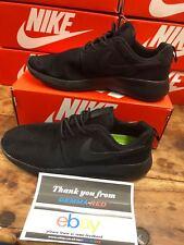 Men's Nike Roshe Run Fitness Trainers BLACK ON BLACK UK SIZE 9 New UK Stock