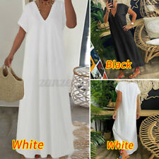 Size Womens Summer V Neck Maxi Swing Dress Ladies Casual A-Line Loose Dresses UK