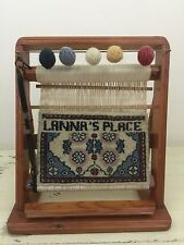 SALESMAN SAMPLE RUG LOOM: Vtg Persian Lanna's Place Design, Small Wooden Display