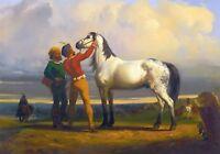 "Rosa Bonheur, The Grey Horse, antique wall decor 20""x14"" CANVAS ART"
