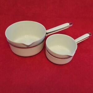 2 anciennes casseroles en porcelaine Aluminite Frugier Limoges France no 3 et 5