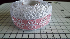 2m -White, Daisy Flower Motif - Applique,Trimming,Wedding -  Satin Lace Ribbon