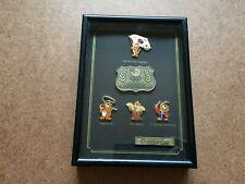 VINTAGE 1988 SEOUL OLYMPIC GAMES KOREAN FLAG MASCOT PIN SET FRAMED