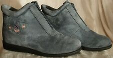 SIZE 5M, BEACON ANTI-SHOCK, SLATE BLUE SUEDE, HIGH TOP SNEAKERS, ZIP UP, FLORAL