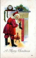 Antique Santa Claus Red Robe Fireplace Stockings Christmas Postcard