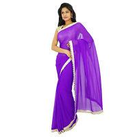 Indische traditionelle Party tragen Sari Designer lila Georgette Hochzeit Saree