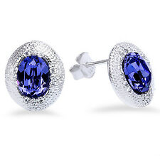 Oval Shape Tanzanite & Cz Studs .925 Sterling Silver Earrings