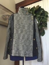 Woman's Moto Jacket SZ L Gray Tweed Faux Leather Biker Sexy KC Collections