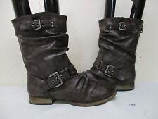 Carlos Ashley Brown Zip Biker Boots Womens Size 7.5 M