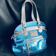 Coach Poppy Chambray Blue Tote Bag Purse Handbag - Sequin Spotlight 16303
