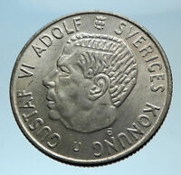1964 SWEDEN King GUSTAV VI ADOLF 2 Kronor LARGE Silver SWEDISH Coin i78107
