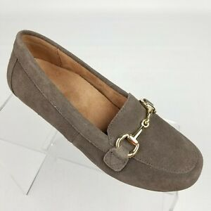 Vionic Bibiana Womens Horsebit Loafers Brown Suede Leather Flats Size 6